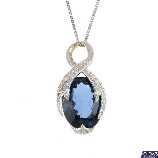 A topaz and gem-set pendant, with 9ct gold chain.
