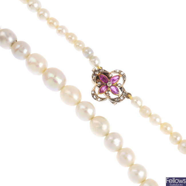 A natural pearl single-strand necklace.