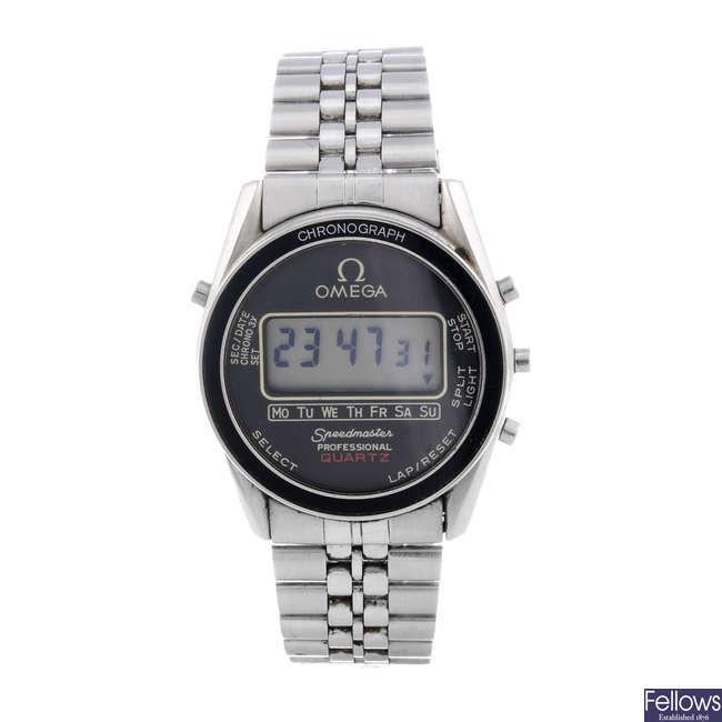 OMEGA - a gentleman's stainless steel digital Speedmaster bracelet watch.