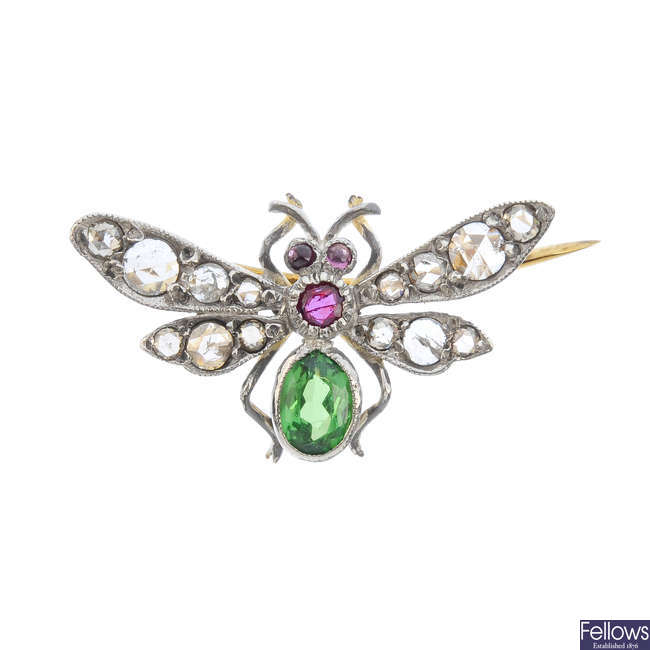 A diamond and gem-set insect brooch.
