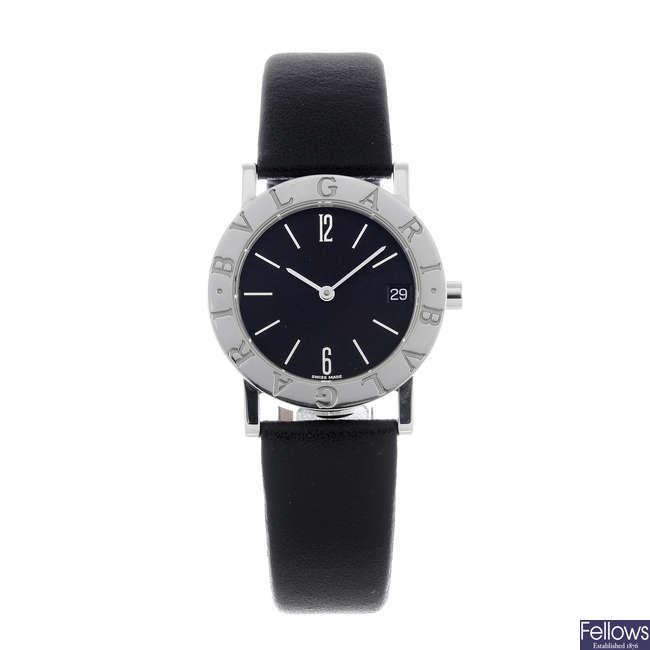 BULGARI - a lady's stainless steel wrist watch.