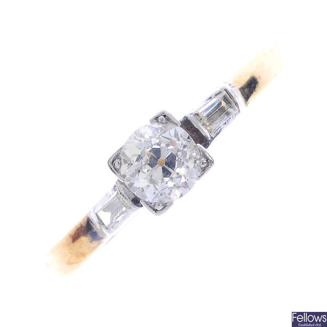 A mid 20th century diamond single-stone ring.