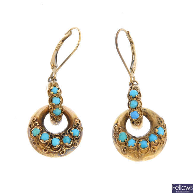 A pair of mid Victorian gold turquoise earrings.