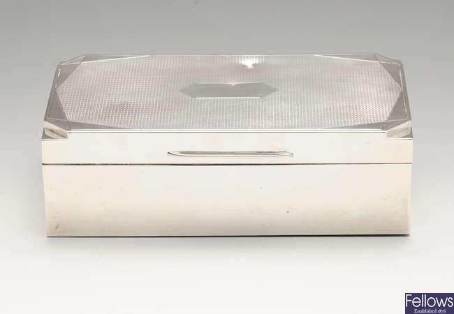 An Art Deco silver mounted table cigarette box.