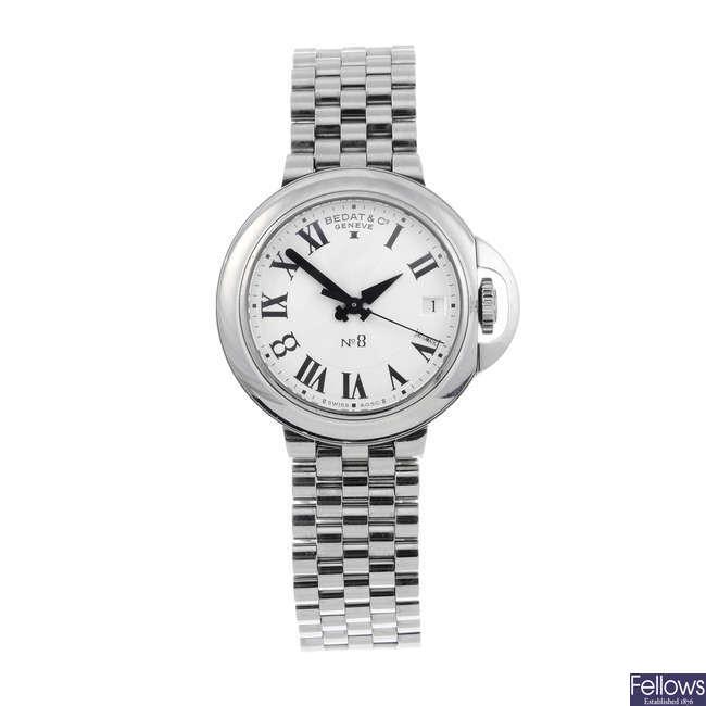 BEDAT & CO. - a lady's stainless steel No. 8 bracelet watch.
