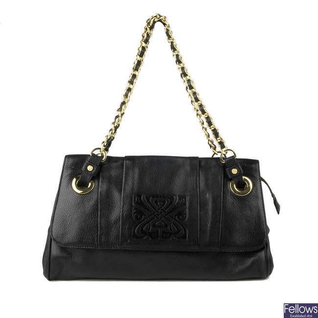 BIBA - a black leather handbag.