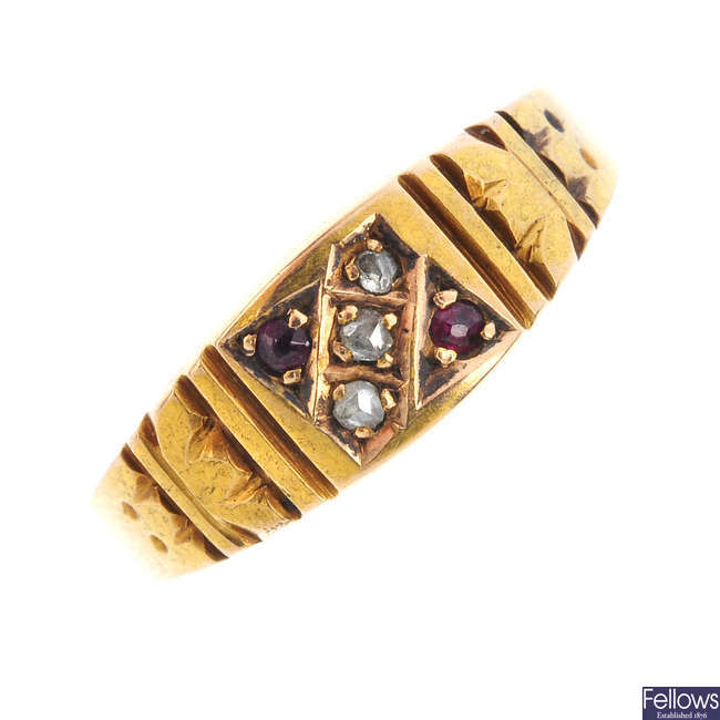 A late Victorian 15ct gold diamond and gem-set ring.