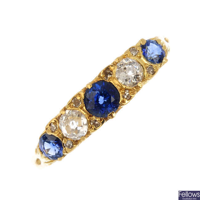 A sapphire and diamond five-stone ring.