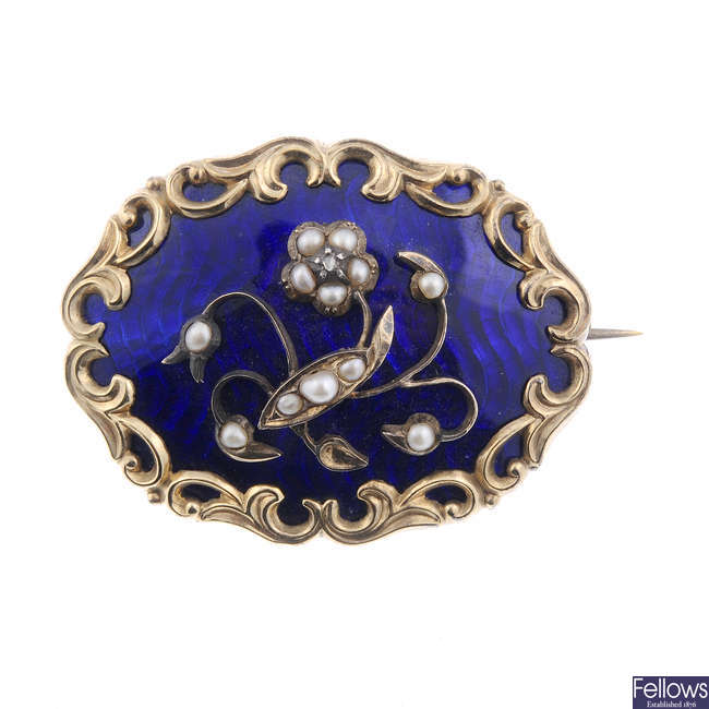 A late Victorian gold enamel and split pearl memorial brooch.