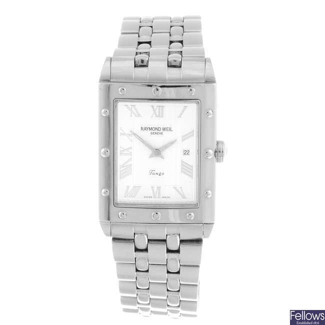 RAYMOND WEIL - a gentleman's stainless steel Tango bracelet watch.