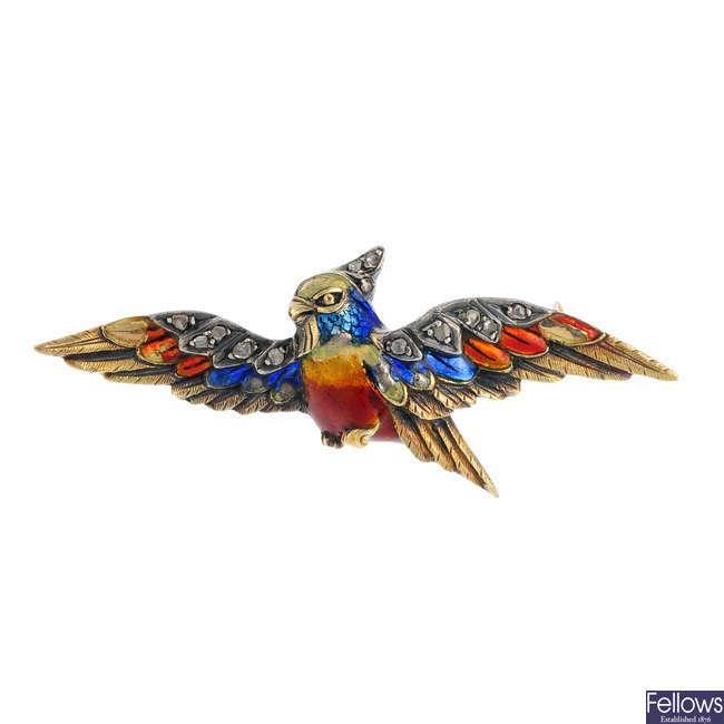 A mid 20th century diamond and enamel bird brooch.