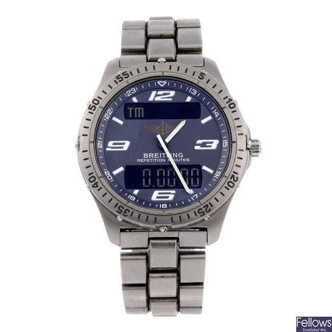 BREITLING - a gentleman's Professional Aerospace chronograph bracelet watch.