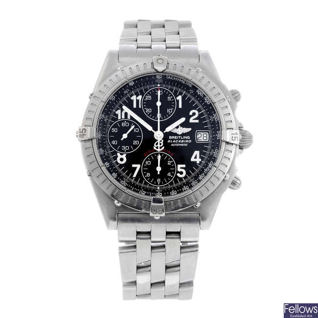 BREITLING - a gentleman's stainless steel Chronomat Blackbird chronograph bracelet watch.