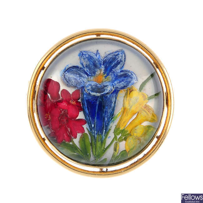 An early 20th century reverse-carved intaglio floral brooch.
