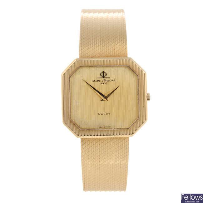 BAUME & MERCIER - a gentleman's yellow metal bracelet watch.