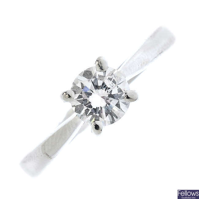 A diamond single-stone ring.