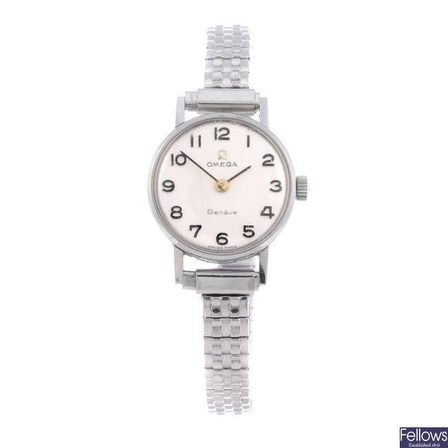 OMEGA - a lady's stainless steel bracelet watch.