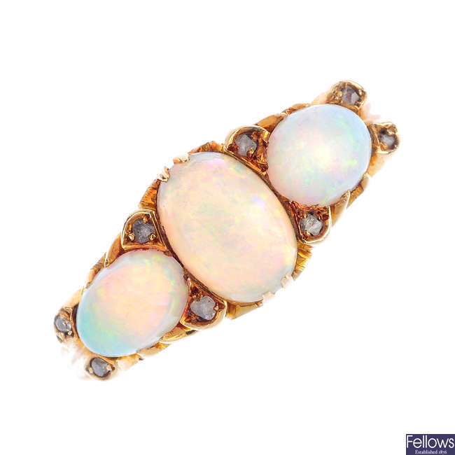 An early 20th century 18ct gold opal and diamond ring.
