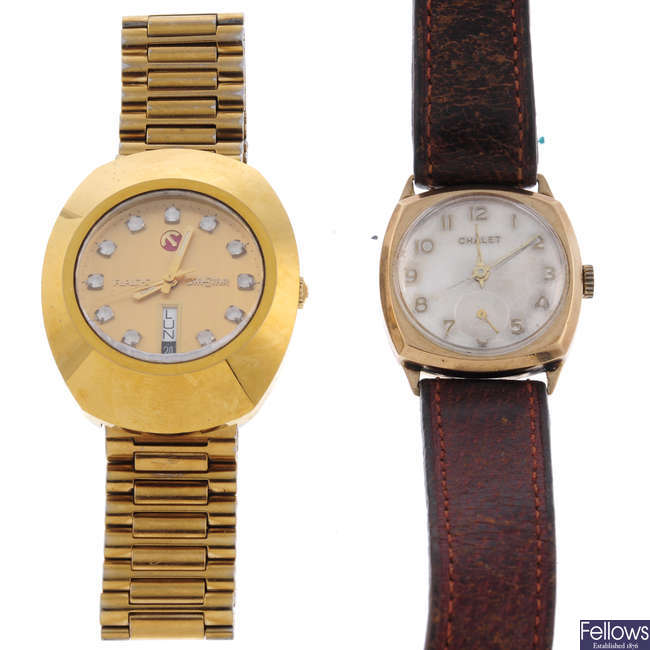 RADO - a gentleman's gold plated DiaStar bracelet watch with a Chalet watch