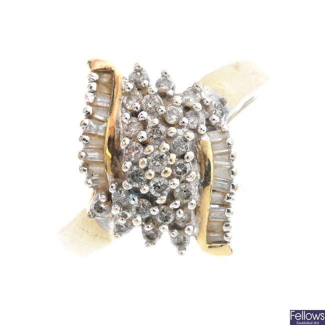 A 9ct gold diamond dress ring.