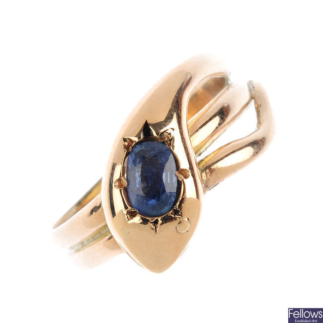An early 20th century gold and sapphire snake ring.