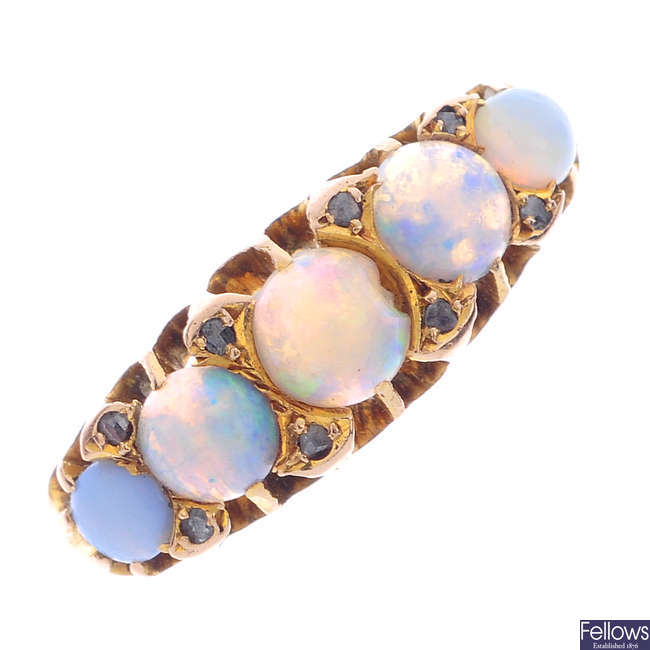 A late Victorian 18ct gold opal and diamond five-stone ring.