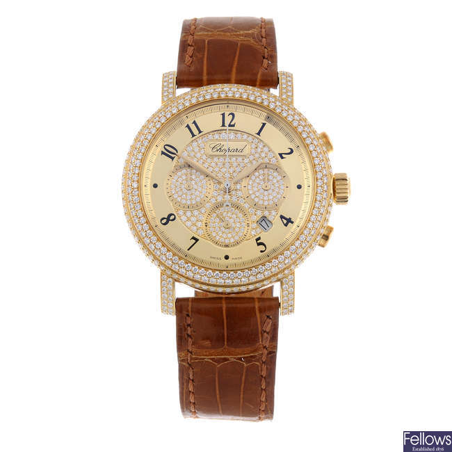 CHOPARD - a limited edition yellow metal factory diamond set 'Elton John AIDS Foundation' chronograph wrist watch.