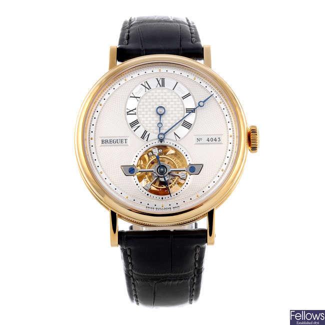 BREGUET - a gentleman's yellow metal Grande Complication Tourbillon wrist watch.