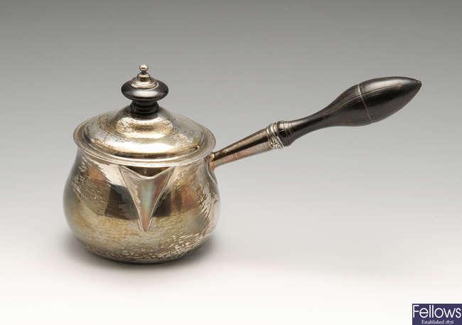 A George III silver brandy saucepan & cover.