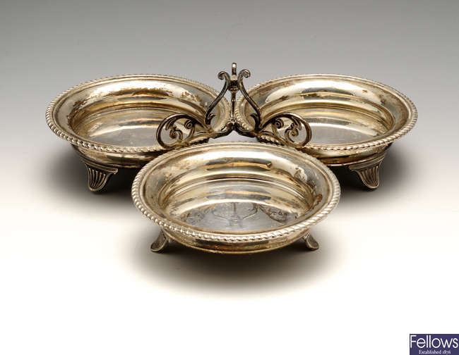 A late Victorian silver hors d'oeuvres dish