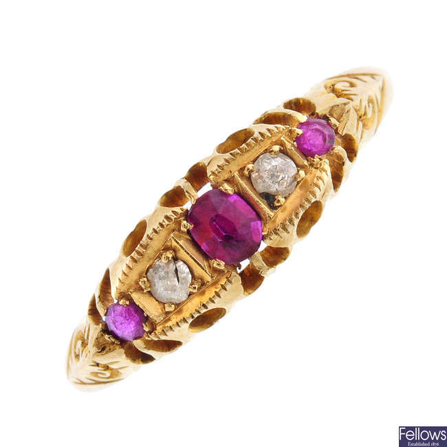 An Edwardian 18ct gold ruby and diamond five-stone ring.