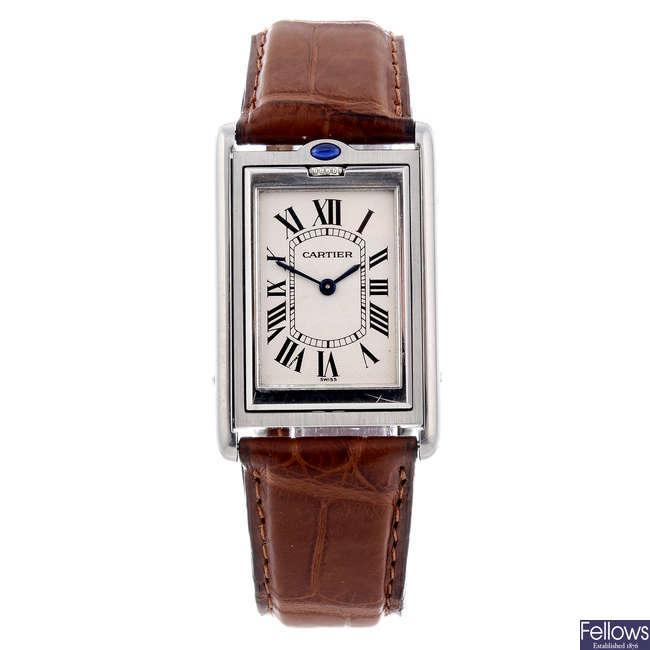 CARTIER - a stainless steel Tank Basculante wrist watch.