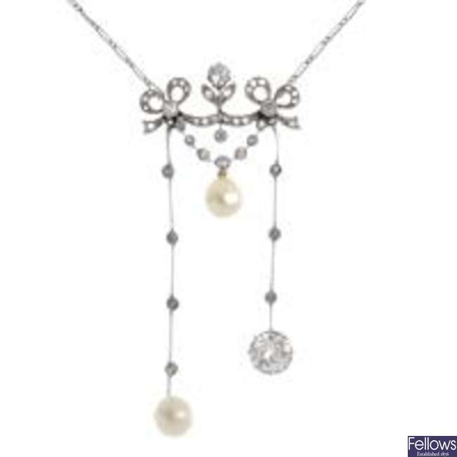 An Edwardian Belle Epoque platinum, natural pearl and diamond negligee pendant.