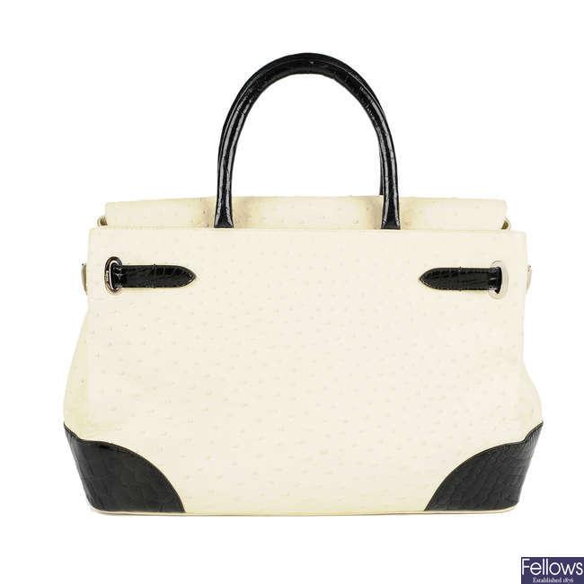 ASPREY - an ostrich Darcy Belgravia handbag.
