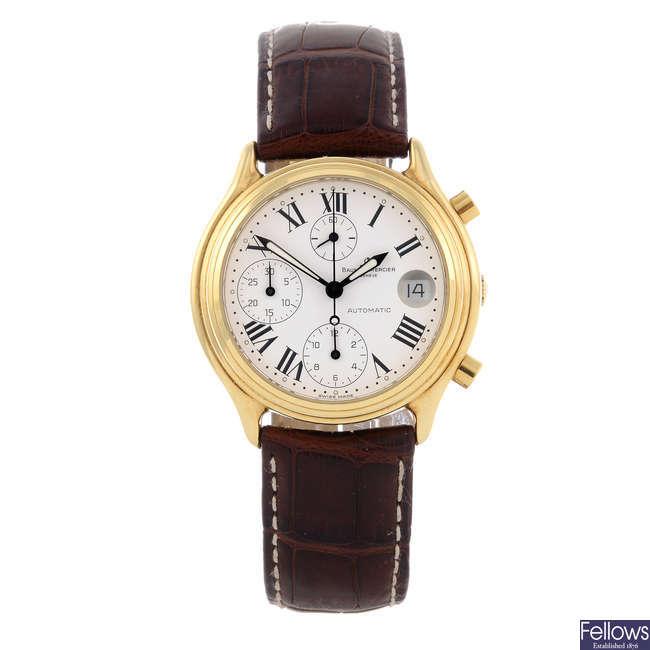 BAUME & MERCIER - a gentleman's yellow metal Baumatic chronograph wrist watch.