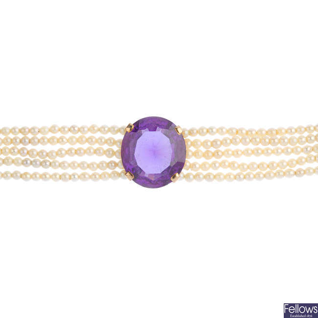 A synthetic sapphire and seed pearl bracelet.