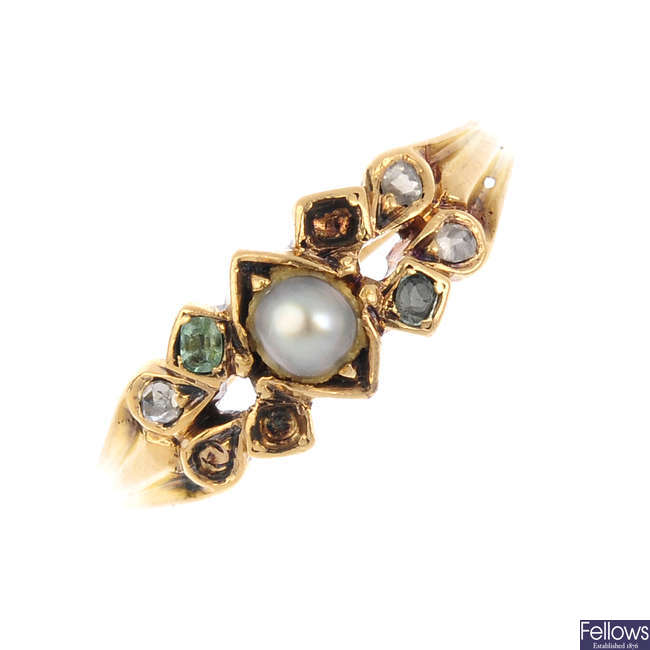 An early 20th century 18ct gold split pearl and gem-set ring.