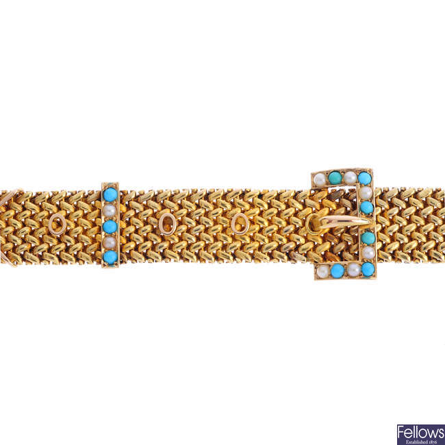 An early 20th century 15ct gold, turquoise and split pearl buckle bracelet.
