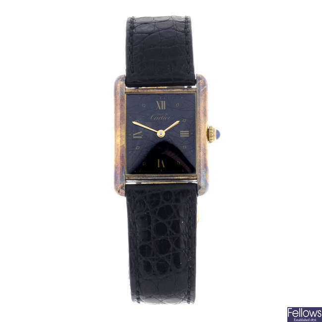 CARTIER - a gold plated silver Must De Cartier Vermeil wrist watch.