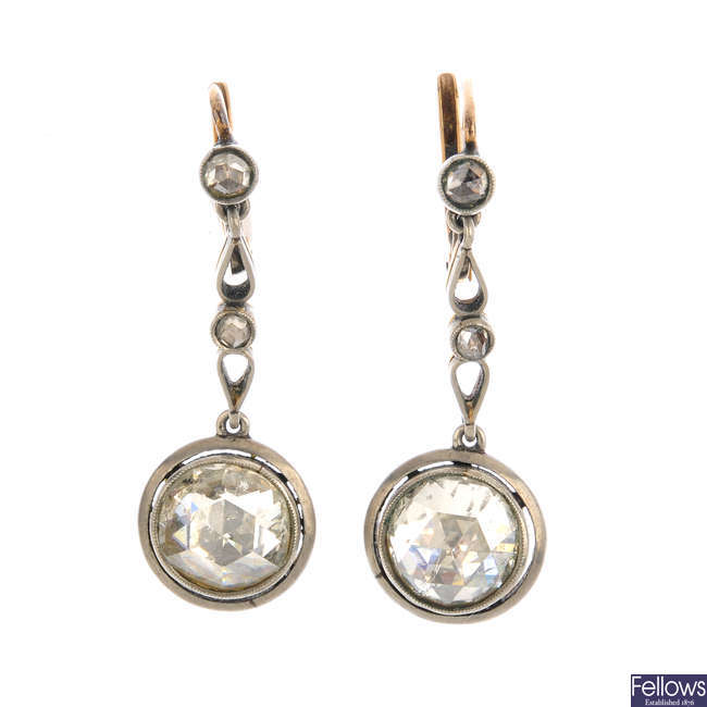 A pair of late 19th century continental gold and silver diamond earrings.