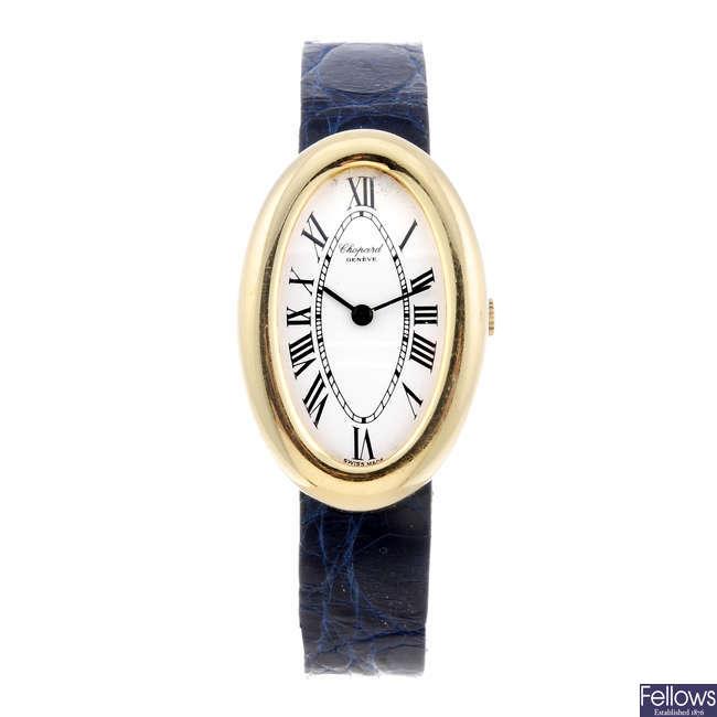 CHOPARD - a lady's yellow metal wrist watch.