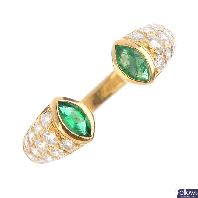 CARTIER - a diamond and emerald dress ring.