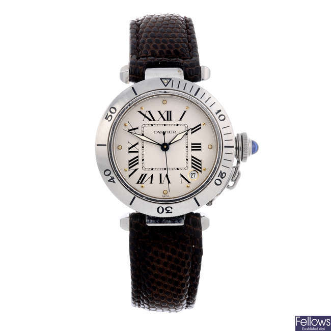 CARTIER - a stainless steel Pasha wrist watch.