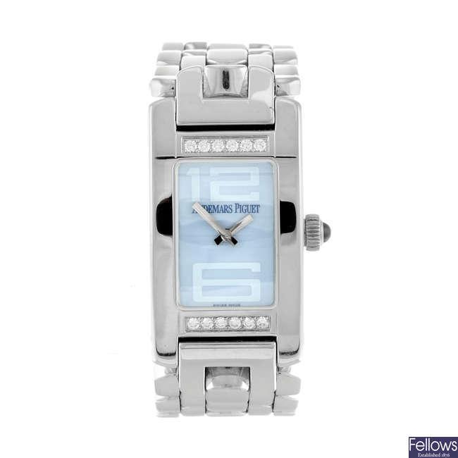 AUDEMARS PIGUET - a lady's diamond set stainless steel Promesse bracelet watch.