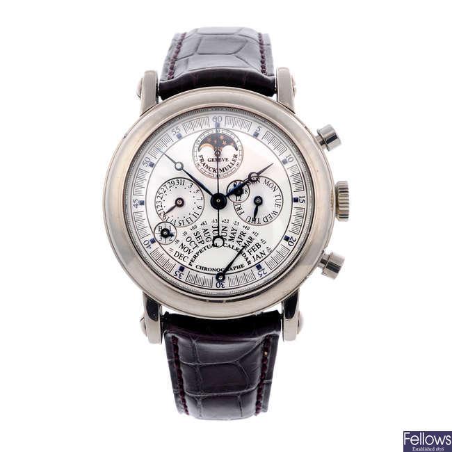 FRANCK MULLER - a gentleman's 18ct white gold Perpetual Calendar chronograph wrist watch.