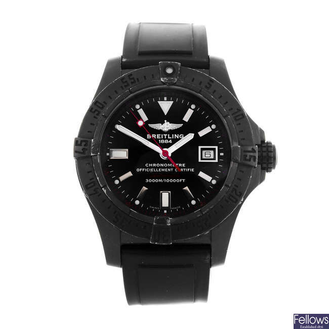 BREITLING - a limited edition gentleman's PVD-treated stainless steel Avenger Seawolf Blacksteel wrist watch.