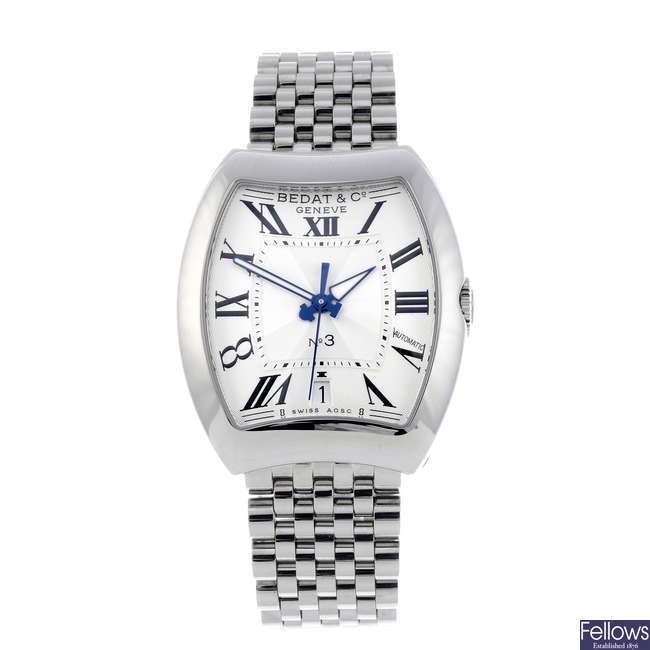 BEDAT & CO. - a mid-size stainless steel No. 3 bracelet watch.