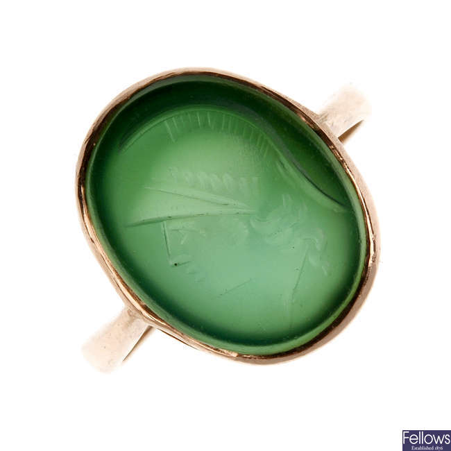 A carved intaglio ring.