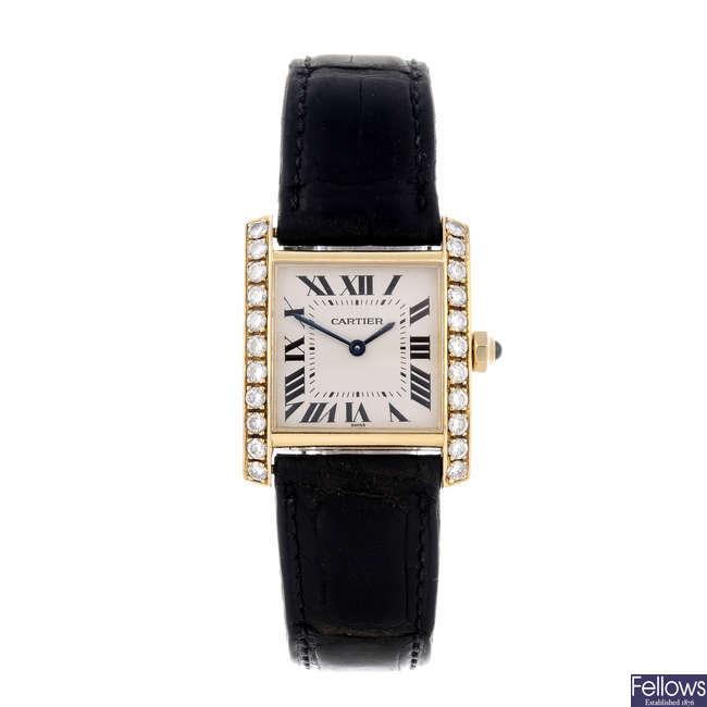 CARTIER - an 18ct yellow gold Tank Francaise wrist watch.
