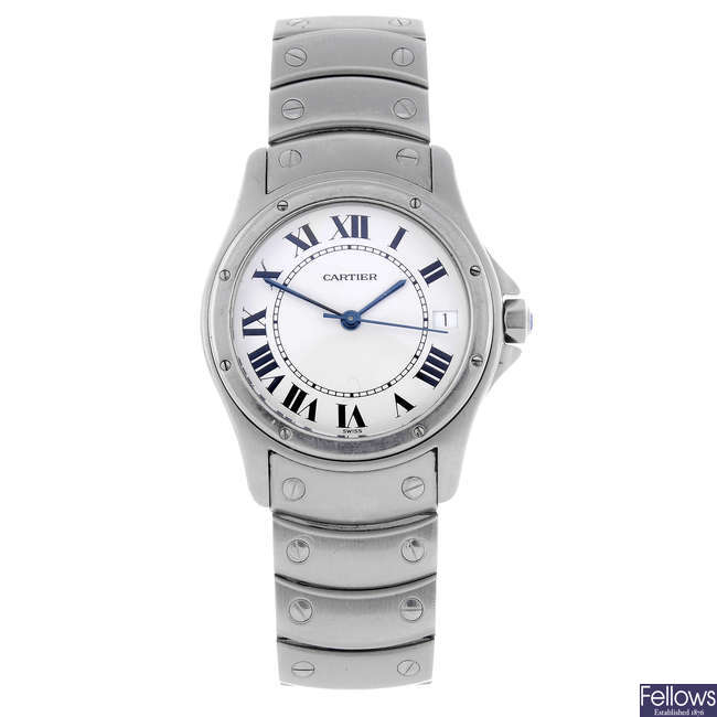 CARTIER - a stainless steel Cougar bracelet watch.
